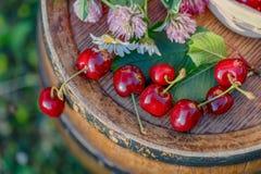 Cereza roja dulce y flores salvajes en un barril de vino de madera en un jardín en verano Foco suave imagen de archivo libre de regalías