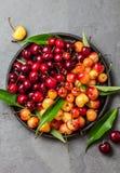 Cereza roja y amarilla con las hojas en la placa negra Imagen de archivo libre de regalías