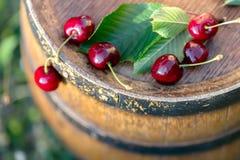 Cereza roja y flores salvajes en un barril de vino de madera en un jardín en verano Copie el espacio Foco suave fotografía de archivo libre de regalías