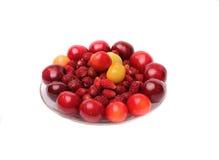 Cerezas, cerezas dulces, fresas en el fondo blanco Imagen de archivo libre de regalías