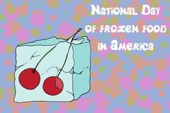 Cerezas congeladas del cubo de hielo Foto de archivo