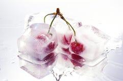 Cerezas congeladas delanteras Fotografía de archivo libre de regalías