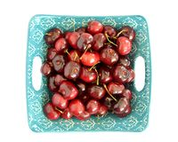 Cerezas de Bing frescas en endecha plana fotos de archivo libres de regalías