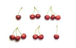 Cerezas dulces aisladas en el fondo blanco Foto de archivo libre de regalías