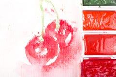 Cerezas en blanco Foto de archivo