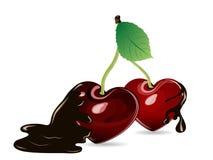 Cerezas en chocolate Imagen de archivo libre de regalías