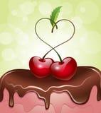 Cerezas en forma de corazón encima de una torta stock de ilustración