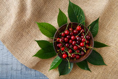 Cerezas frescas dulces con las hojas verdes en el paño de saco Foto de archivo