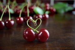 Cerezas rojas frescas Foto de archivo libre de regalías