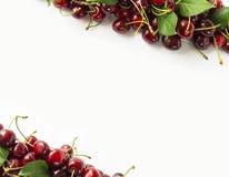 Cerezas rojas frescas en la frontera de la imagen con el espacio de la copia para el texto Fondo de cerezas Cereza madura en un f Fotografía de archivo