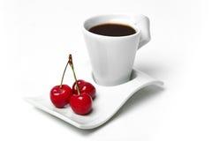 Cerezas y coffe Fotografía de archivo