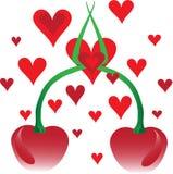 Cerezas y corazones Imagen de archivo