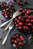 Cerezas y flores frescas del verano en placas Fotografía de archivo