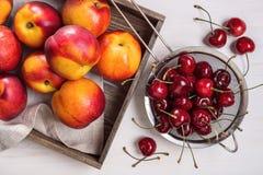 Cerezas y nectarinas Fotos de archivo libres de regalías