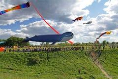 Cerf-volant énorme de baleine au festival de cerf-volant en parc Tsaritsyno à Moscou Photos stock