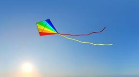 Cerf-volant avec le coucher du soleil Photo stock