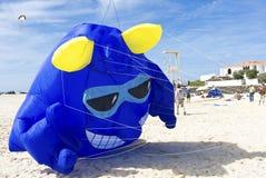 Cerf-volant bleu de monstre d'imagination décollant pour les cieux bleus à la plage Image libre de droits