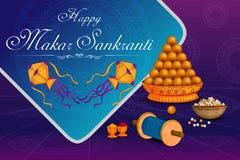 Cerf-volant doux et coloré délicieux pour le festival indien, Makar Sankranti illustration stock