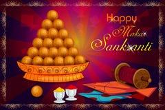 Cerf-volant doux et coloré délicieux pour le festival indien, Makar Sankranti illustration libre de droits
