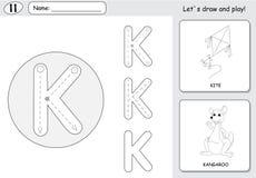 Cerf-volant et kangourou de bande dessinée Fiche de travail de découverte d'alphabet : inscription d'A Photo libre de droits