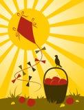Cerf-volant, fruit et soleil Photo stock