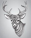 Cerfs communs à cornes tirés par la main avec le haut ornement de détails illustration de vecteur