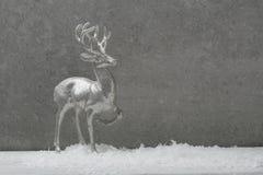 Cerfs communs argentés de Noël sur le fond gris images stock