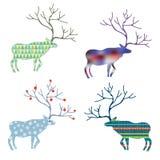 Cerfs communs avec le modèle différent réglé pour Noël Photos stock