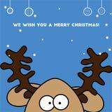 Cerfs communs colorés gais de renne de carte de Noël Photos stock