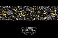 Cerfs communs d'or de modèle de label de nouvelle année de Joyeux Noël Image stock