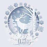 Cerfs communs d'hiver en Forest Poster Vector Illustration illustration stock