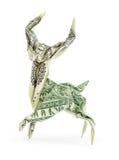 Cerfs communs d'origami du dollar d'isolement photo libre de droits
