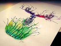 Cerfs communs dans l'herbe - peinture Images libres de droits