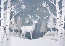 Cerfs communs dans la forêt avec la neige Illustration Libre de Droits