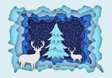 Cerfs communs dans la forêt dans la neige, à côté de l'arbre de Noël Illustration du ` s de nouvelle année Style de papier Photo stock
