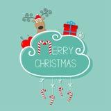 Cerfs communs dans le chapeau de Santa, giftbox, flocon de neige, boule Carte de Joyeux Noël canne de sucrerie s'arrêtante Ligne  Photo stock