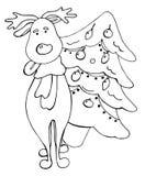 Cerfs communs de bande dessinée et éléments de vecteur d'arbre de sapin illustration de vecteur