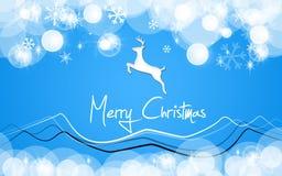 Cerfs communs de bleu de carte de Joyeux Noël Images stock