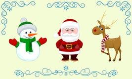 Cerfs communs de bonhomme de neige de Santa Photos libres de droits