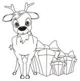 cerfs communs de coloration avec des cadeaux Images stock