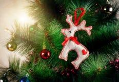 Cerfs communs de feutre de Noël Images libres de droits
