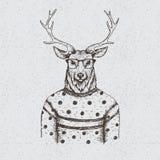Cerfs communs de hippie habillés dans le chemisier Photographie stock