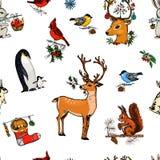 Cerfs communs de modèle, écureuil et animaux sans couture de Noël Pingouin de nouvelle année et cardinal ou mésange d'oiseau pend Photos stock