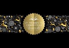 Cerfs communs de modèle de label d'or de nouvelle année de Joyeux Noël Photographie stock libre de droits