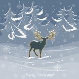 Cerfs communs de Noël dans le vecteur de vintage de forêt d'hiver Photographie stock libre de droits