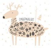 Cerfs communs de Noël de vecteur avec l'ensemble d'icône Photos stock
