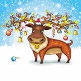 Cerfs communs de Noël Photographie stock