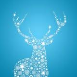 Cerfs communs de silhouette. Carte de Noël Photographie stock libre de droits