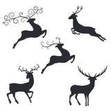Cerfs communs de silhouette sur le fond blanc illustration de vecteur