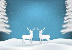 Cerfs communs de vacances d'hiver avec la saison de Noël de neige et de ciel bleu illustration libre de droits